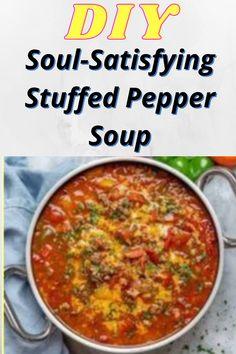 Soup Recipes, Cooking Recipes, Healthy Recipes, Dinner Recipes, Stuffed Pepper Soup, Stuffed Peppers, Paella, Soup And Salad, Diy Food