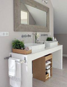 Ideas Small Bathroom Storage Cabinet The Wall Bathroom Vanity, Bathroom Interior, Bathroom Makeover, Small Bathroom, Home, Trendy Bathroom, Bathroom Design, White Bathroom, Minimal Bathroom