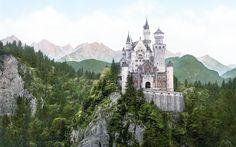 Zamek, Neuschwanstein, Lasy, Góry, Niemcy