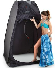 "Or a swimsuit for pajamas. Of course, paired with a portable commode, it's also great for a ""nature call."" In fact, it even comes complete with a 5-gallon PVC personal Camp Shower for quick clean-ups! It's just like having a personal locker room that goes wherever you do! Spring-loaded fiberglass frame pops up instantly; Perfect for changing, showering, restroom use and more; Includes nylon carrying and storage bag; Included Camp Shower holds 5 gallons, heats water with solar energy;"