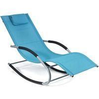 Transat a bascule BERGAMO BLEU siege longue fauteuil piscine jardin terrasse