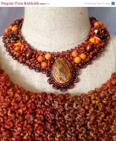 ON SALE Bead Embroidered Collar Flame Resin Bead by bjswearableart, $75.00