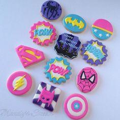 Superhero Cookies, Girl Superhero Party, Superhero Birthday Cake, Batman Party, Batman Cookies, Combined Birthday Parties, 6th Birthday Parties, Baby Birthday, Birthday Bash