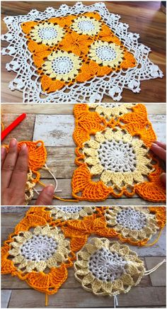 Crochet Sunflower Blanket - DESIGN BIRDY,Crochet Sunflower Blanket – Design Birdy Produce crochet quilts your self Who does not love a blanket where you are able to hide and warm up in winter. Crochet Design, Crochet Motifs, Crochet Squares, Crochet Doilies, Crochet Flowers, Blanket Crochet, Easy Knitting Projects, Easy Knitting Patterns, Crochet Projects