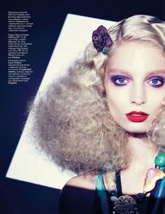 Vogue Russia 2011 purple smoky eyes red lip curly blond hair