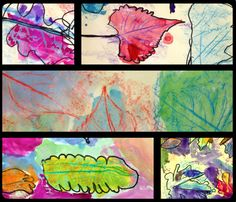 K-Leaf Texture rubbings with watercolors, crayons, and sharpies