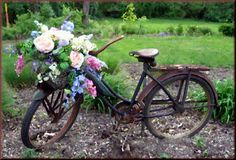 You can plant flowers in flower pots, or in a case of a #flower #bicycle