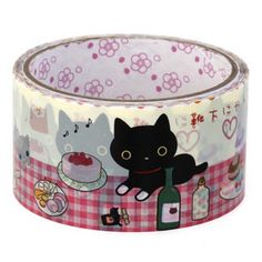 Picnic with black cat Deco Tape Sanx Adhesive by CharmTape on Etsy, $3.75