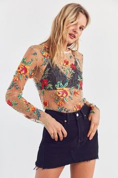 Kimchi Blue Floral Embroidered Mesh Long Sleeve Tee | Urban Outfitters