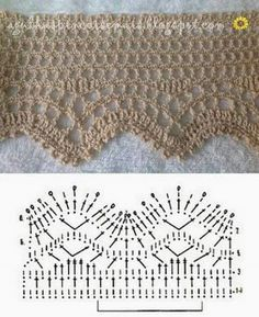 If you looking for a great border for either your crochet or knitting project, check this interesting pattern out. When you see the tutorial you will see that you will use both the knitting needle and crochet hook to work on the the wavy border. Motif Bikini Crochet, Crochet Lace Edging, Crochet Diagram, Crochet Chart, Thread Crochet, Filet Crochet, Crochet Squares, Crochet Flowers, Beau Crochet