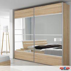 Schwebetürenschrank RASA: Traumhaft schönes Schlafzimmerprogramm in modernem Design und topaktueller Farbkombination Eiche-Sonoma und Absetzungen in Alpinweiß. - Maße: B/H/T ca. 225/222/65 cm.  Zum Artikel: http://www.roller.de/schwebetuerenschrank-rasa/000194039100/