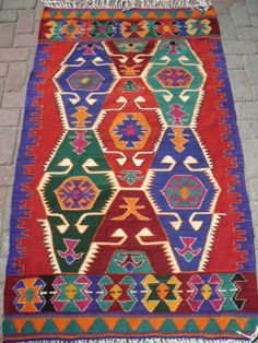 Türkische anatolische Kelim Teppich Vegitable und von TARZANPILLOW