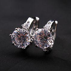 Silver Plated Alloy Diamond Shaped Crystal Earrings – USD $ 4.99
