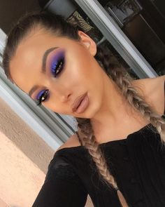 The best makeup tips. - The best makeup tips. The best makeup tips. Purple Makeup Looks, Makeup Eye Looks, Purple Eye Makeup, Colorful Eye Makeup, Natural Eye Makeup, Beauty Makeup, Exotic Makeup, Crazy Makeup, Pretty Makeup