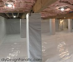 diy Design Fanatic: Encapsulating Our Mountain Cottage Crawl Space Crawl Space Insulation, Crawl Space Repair, Basement Ceiling Insulation, Floor Insulation, Basement Ceilings, Basement Bar Designs, Home Bar Designs, Basement Ideas, Basement Bars