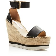 See By Chloe Glyn Leather Espadrille Platform Wedge Ankle Strap... ($215) ❤ liked on Polyvore featuring shoes, sandals, black, black leather shoes, black platform wedge sandals, black espadrilles, wedge sandals and leather wedge sandals