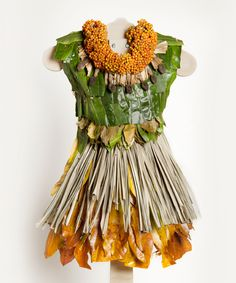 """Sharon-wht-72-sml; These 21 dresses are part of the """"little green dress project"""" dresses made entiredly of living things"""