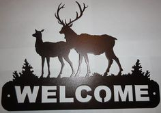 2 Elk Welcome Sign Metal Wall Art by HoltsHomeDecor on Etsy Metal Fab, Wood And Metal, Metal Walls, Metal Wall Art, Cow Elk, Plasma Cutter Art, Mailbox Decals, Metal Projects, Metal Signs
