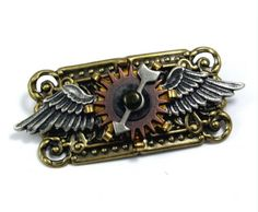 5//8 Antique Brass Steampunk Gadget Tie Pin Tack 101