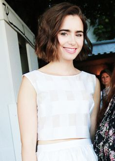 Lily Collins Straight Short Blunt Bob Hair