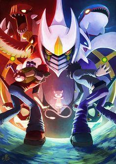 Red et Blue contre les pokémons légendaires : Latias, Latios, Ho-Oh, Lugia, Groudon et Kyogre - Bonjour Pokémon - Chaque jour une image !