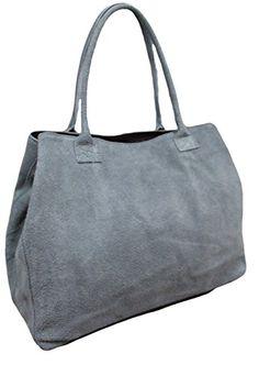 Made in Italy Damen Schultertasche Beuteltasche Shopper Wildleder Leder Bag, Farbe:Dunkel Grau - http://herrentaschenkaufen.de/my-musthave/dunkel-grau-made-in-italy-damen-schultertasche