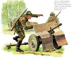 Esercito Polacco - Ulani del 12. Reggimento in postazione con un pezzo di artiglieria Bofors cal. 37 armati con una carabina Mauser M 98 versione da Cavalleria.