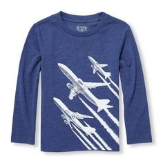 Toddler Boys Long Sleeve Airplane Takeoff Graphic Tee #boys #tee #boystee