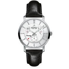 Atlantic Seaway Perpetual Date zobacz na www. 21st, Watches, Leather, Accessories, Clocks, Clock