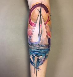 Watercolor Sailboat Tattoo