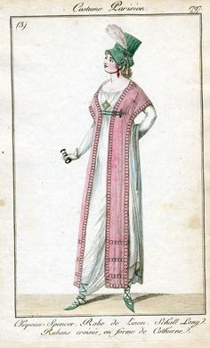 1797. Green bonnet and the sweet shawl 'jacket'.