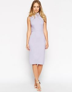 ASOS Pencil Dress with Clean Drape and High Neck