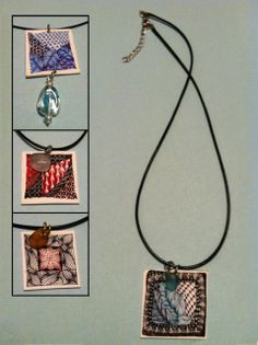 zentangle color shrinky dink necklace by Jann of Zen Doodle Club - June project