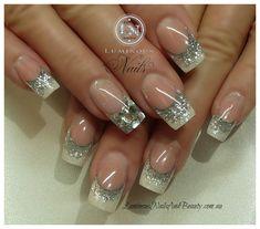 Glitter Acrylic Nail Designs   ... nails,+Sculptured+Acrylic+nails+with+Metallic+Pearl,+Silver+Glitter