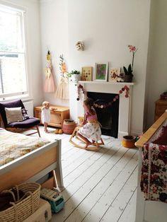 Kid's room - Home of Courtney Adamo - Via Design Mom Attic Renovation, Attic Remodel, Attic Rooms, Attic Playroom, Attic Bathroom, Little Girl Rooms, Kid Spaces, Girls Bedroom, Childs Bedroom