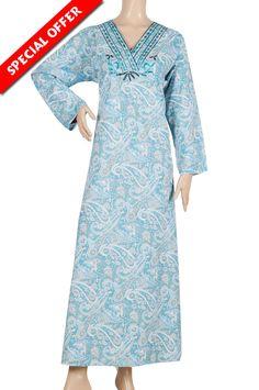 "aljalabiya.com: ""Rayana"" Cotton patterned jalabiya with embroidery (N-12915-11) $26.00"