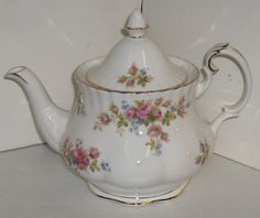 Royal Albert Moss Rose bone China teapot.