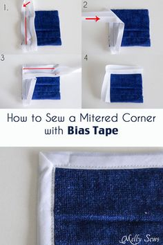 We don't use this technique very often when making ballroom and skate costumes. However, it's still a good skill to have just in case :) . How to Sew a Mitered Corner with Bias Tape - Bias Tape Corners - Melly Sews Sewing Basics, Sewing Hacks, Sewing Tutorials, Sewing Crafts, Sewing Tips, Techniques Couture, Sewing Techniques, Sewing Patterns Free, Free Sewing