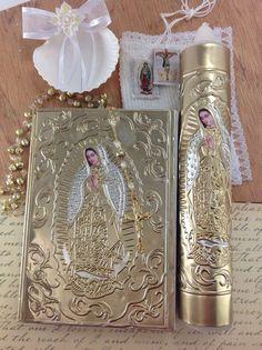 Vela para bautizo, Baptism candle set, Virgen de guadalupe