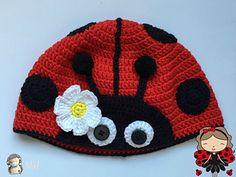 Gorro mariquita a Crochet, ideal para bebés y niños pequeños pero adaptable a cualquier tamaño.