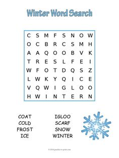 Easy Winter Word Search - Puzzles to Print - Easy Winter Word Search FREEBIE! An easy winter word search to help younger kids learn how to spell words associated with the colder months of the year. Free for you to print and use as you wish. Winter Word Search, Holiday Word Search, Easy Word Search, Kids Word Search, Word Search Puzzles, Holiday Words, Christmas Words, Kindergarten Word Search, Kindergarten Reading