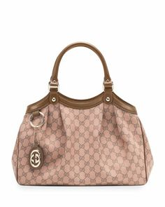 Sukey Medium Original GG Canvas Tote, Pink/Tan by Gucci at Neiman Marcus.