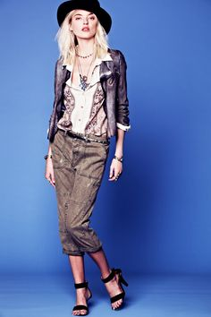 Into the Great Wide Open – Martha Hunt looks ready for the upcoming spring in a mix of flirty and tomboyish styles shot for Free People's January lookbook. The clothing has a rustic vibe with neutral hues, rugged denim and western-inspired detailing. Pants are flared or fitted while tops are adorned with ruffles and lace. Paired with wide-brimmed hats, sparkling accessories and floral prints; January looks like an eclectic month. / Photos by Anthony Nocella