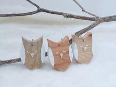 Décoration Hibou en bois recyclé à suspendre