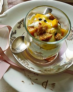 Passion fruit pots recipe - these mini desserts with passion fruit yogurt, fresh mango and cookie crumbs take just 15 minutes to make! Mini Desserts, Summer Desserts, No Bake Desserts, Dessert Recipes, Steak And Chips, Slow Roast Lamb, Salted Caramel Brownies, Fruit Yogurt, Mousse