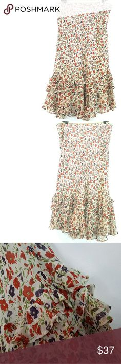 """Sundance 16 Wildflowers Silk Skirt This Sundance Catalog size 16 Wildflowers Silk Skirt is in great used condition. Lined. No stretch. Side zip. Waist measures 18.5"""" across laying flat, so 37"""" around.   About 29"""" long. ::: Bundle and save! ::: No trades. Sundance Skirts Midi"""