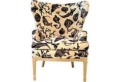 Wing Chair w/ Aquatic Upholstery