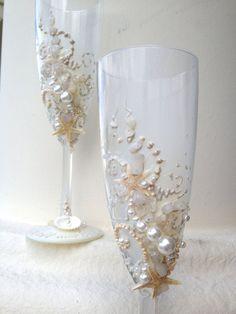 Gafas de boda champagne de estrellas de mar playa por PureBeautyArt