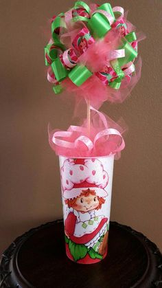 Strawberry Shortcake Ribbon Topiary Birthday Party Centerpiece Kids Room Decor Baby Bridal Shower Gift!  Tulle & Ribbon! by CuteAsAButtonForAll on Etsy