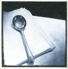 soup spoon and linen napkin